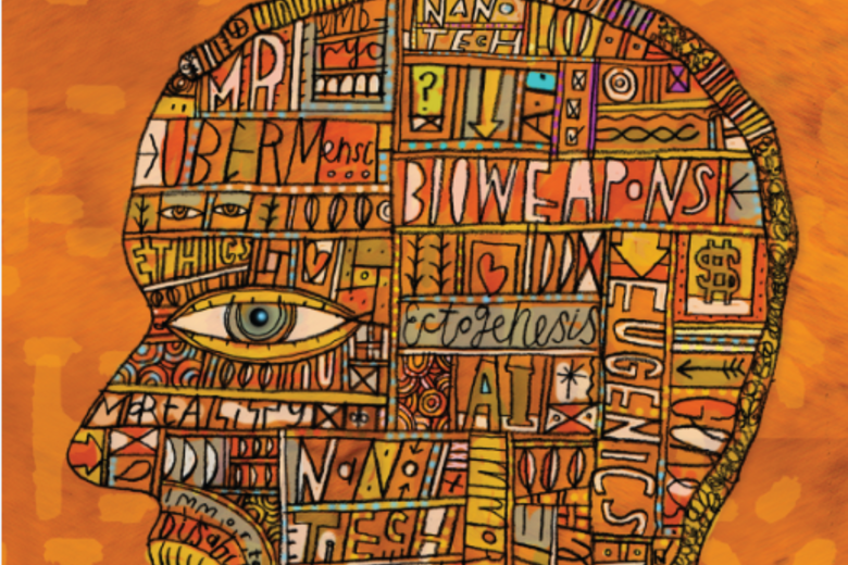 Orange painting of the profile of a face, made up of words associated with ethics