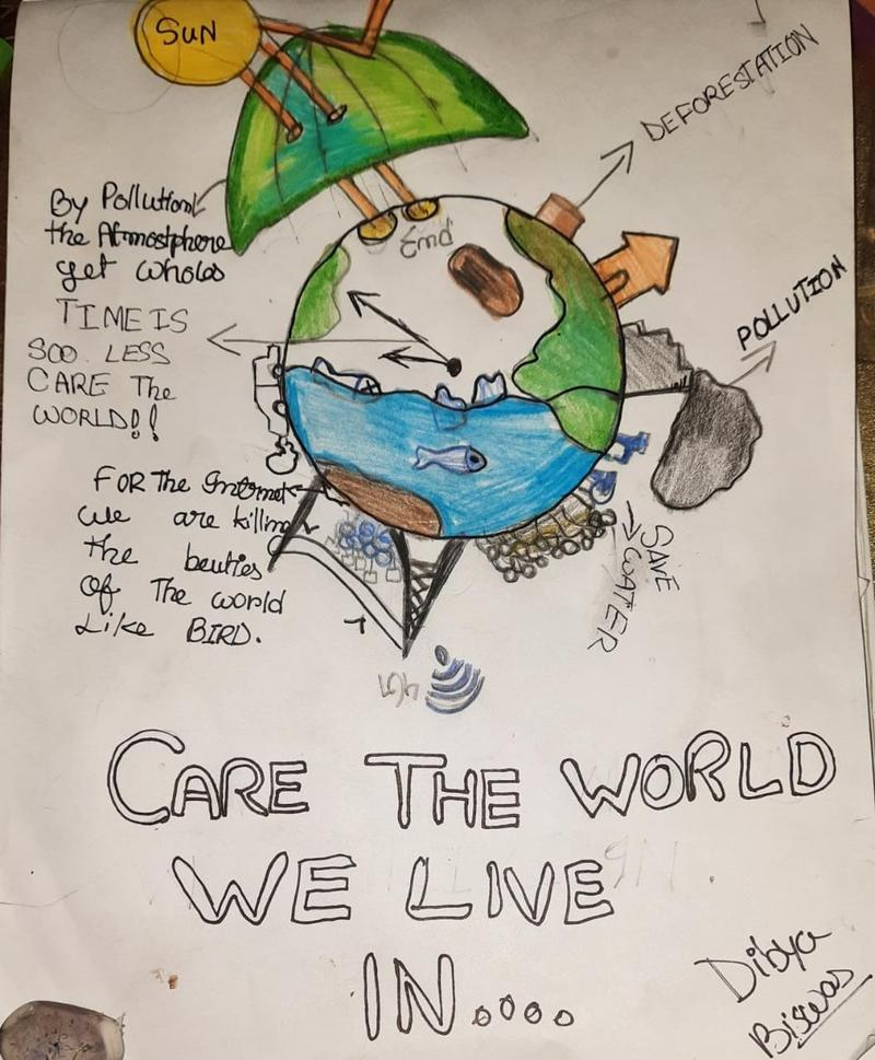 Winning drawing in the 9 to 12 year old category of the 'Caring for the World We Live in' drawing competition