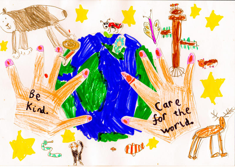 Winning drawing in the 6 to 8 year old category of the 'Caring for the World We Live in' drawing competition