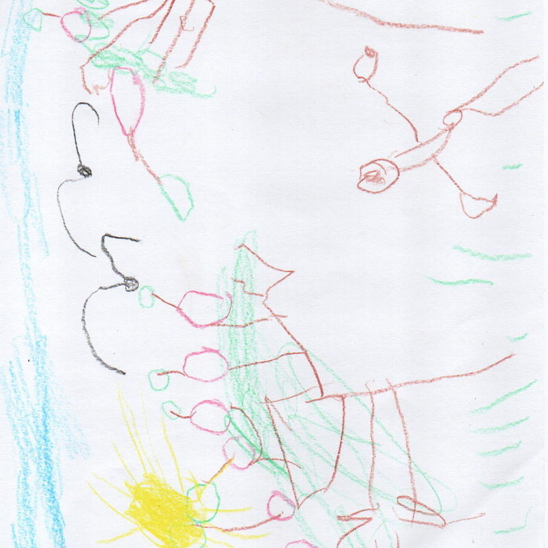 Winning drawing in the 3 to 5 year old category of the 'Caring for the World We Live in' drawing competition