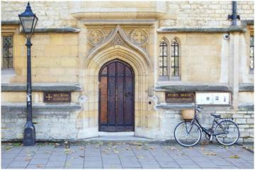 St Cross College Oxford, main doorway with a bicycle beside it